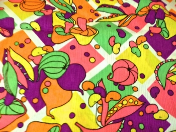 Vintage 60s Fabric Wamsutta Mills Textile Bold Print  Mushroom Cotton Polyester Weave Blend - Over 3 yards!