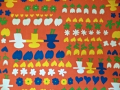 Vintage Fabric 70s Cotton Child Flower Pattern