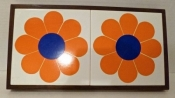 Vintage Housewares 60s Double Daisy Trivet, Pan Rest, Ceramic Tray