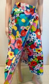Spring Flowers Maxi Skirt 60s Vintage Bark Cloth Cotton