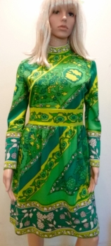 """1960s Day Dress Green Border Print """"Butter Knit"""" Long Sleeve Poly"""