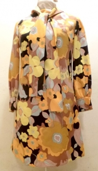 60s Vintage Dress - Black Yellow Pattern