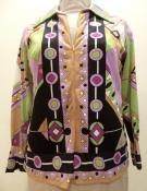 60s Pucci Style Long Sleeve Border Print Shirt