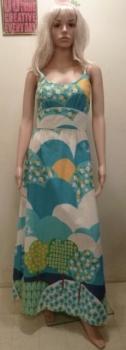 60s Cotton Dress - Vintage Barkcloth Maxi Dress Small