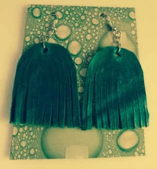Hand Made Leather Fringe Earrings Turquoise Blue