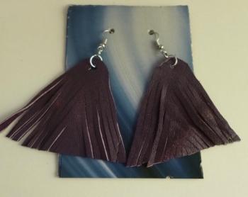 Hand-Made Leather Fringe Earrings Purple