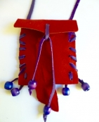 Hand-Made Leather Pouch - Red with Purple Wood Beads