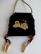 Leather Cat Lover Black Pouch Necklace Hand-Made