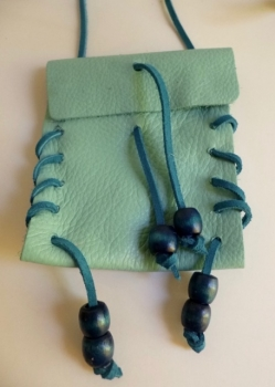 Turquoise Blue Pouch Necklace Hand-Made