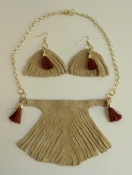 Suede Bib Necklace and Earring Set with Tassels HAND-MADE