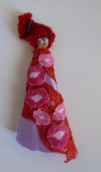 Hand Made Refrigerator Magnet Doll- Red Lips Kiss