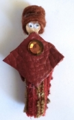 Hand Made Fashion Magnet Doll - 80s Maroon Leather Outfit