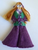 Refrigerator Magnet Doll - Purple Denim Bell Bottom Outfit