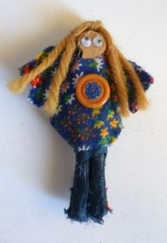 Hand-Made Fashion Magnet Dolls - Denim Hippie