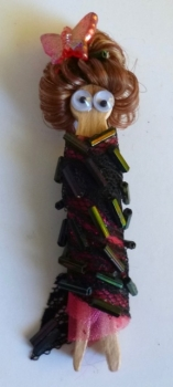 Hand-Made Fashion Magnet Dolls - Beaded Butterfly Lady