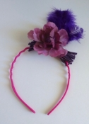 Purple Flower and Feather Headband Hair Accessory Hand Made