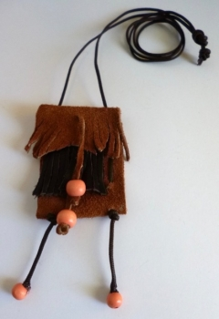 Brown Leather Pouch Necklace with Fringe and Orange Beads