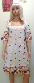 Upcycled 60s 70s Barkcloth Cotton Dress Embroidered Trim