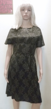 1960s Bat Sleeve Fitted Black Cocktail Dress Size Small