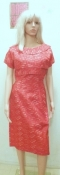 True Vintage 50s Dress Red Eyelet and Ribbon -Wiggle Style