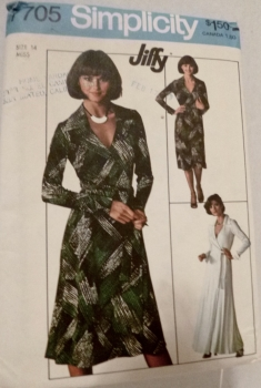 Simplicity 7705 Wrap Dress Sewing Pattern 1976 Two Lengths