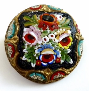 Colorful Round Glass Mosaic Vintage Pin Made In Italy