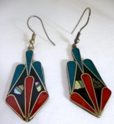 Vintage Earrings Turquoise, Abelone Shell and Enamel Art Deco Style