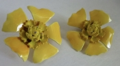 60s Vintage Yellow Clip Back Flower Earrings