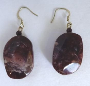 70s Purple Faux Stone Earrings Hippie Boho Festival
