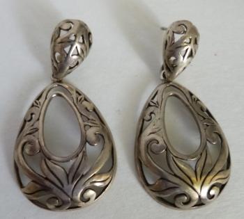 True Vintage Sterling Stamped Filigree Pierced Earrings