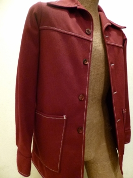 Maroon Red 70s Leisure Suit Jacket 36 Chest
