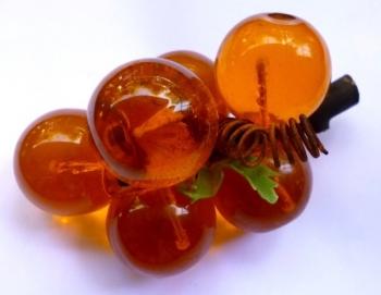 Decorative Lucite Orange 70s Grapes - Mid-Century Modern Housewares