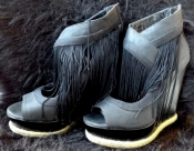 Black Fringe Burlesque High Heel Shoes - Wedges Size 6 USA Womens