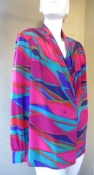 Long Sleeve 80s or 90s Shirt Abstract Color Print  BUST 42 inches