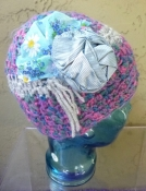 Blue Skull Cap Multicolor Crochet with Repurposed Fabric Embellishments - Hand Made