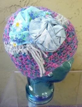 Blue Skull Cap Multicolor Crochet with Repurposed Fabric Embellishments - Hand Made