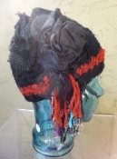 Black Knit Hat with Repurposed Fabric Embellishment - Hand Made