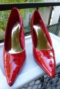 Red Stiletto Pumps Mock Crock Size 6 - 1950s Inspired Design