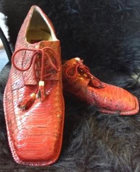 Red Men's Shoes Mock Alligator 80s Vintage