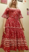 Vintage Western Red Rockabilly Dress Cotton Circle Skirt