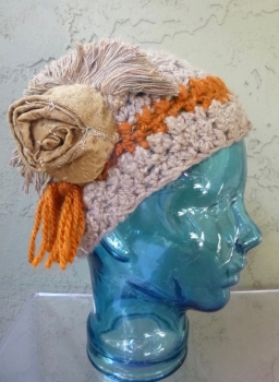 Crochet Hat Rust Colored with Tan - Repurposed Fabrics - Upcycled - Hand Made