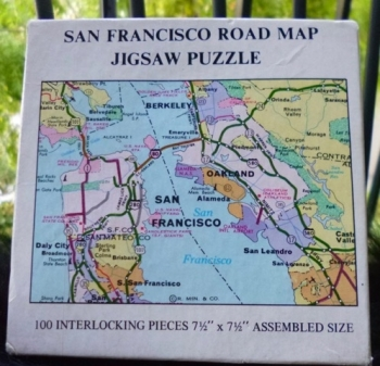 San Francisco Bay Area Road Map Jigsaw Puzzle 100 Pieces- VINTAGE 1973