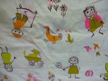 Vintage Fabric -60s/70s Permanent Press Cotton Starry Eyed Kids Print 3 Yds.
