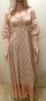 Nude Flesh Tea Gown- Full Length Small Lace Wedding Dress Formal Ren Fair