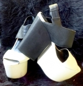 Two-Tone Platform Shoes Black and White Chunky Sling Back Open Toe