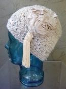White Hat with Tassel and Repurposed Fabric- Hand Made