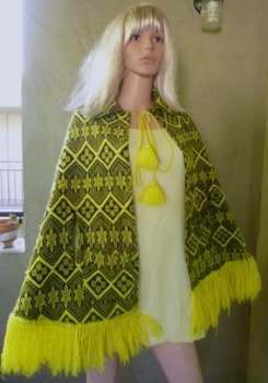 Vintage Cape Yellow and Black Woven Fabric, Tassels SMALL