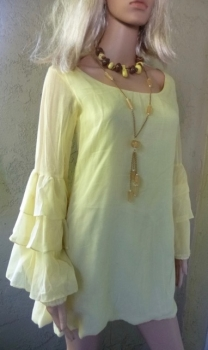 Yellow Mini Dress - Vintage Hand Crafted Design