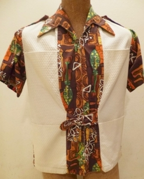 1960s TIKKI Party Hawaiian Style Shirt Chest 42 inches Length 25 inches Like New!