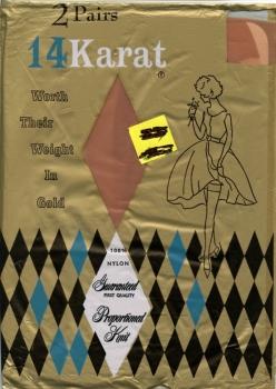 24 Karat 100% Nylon Stockings 1950s  1 Pair Size 11 Beige NEW